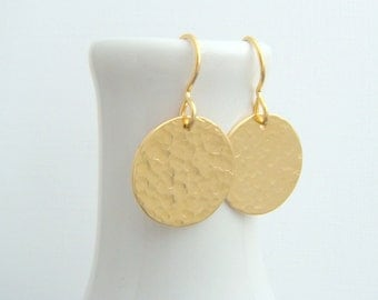 hammered gold earrings. circle earrings. 14k yellow gold filled fill dangle. everyday jewelry. simple modern disc. drop earrings. gift. 5/8""