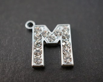 CLOSEOUT SALE - Durable High Quality Rhodium Plated Small Crystal Pave Letter M Pendant  - 14mm Tall - 1 piece