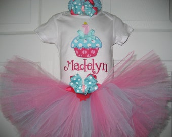 Baby girl cupcake birthday tutu set, first birthday tutu set, hot pink and aqua birthday tutu set, cake smash outfit, cupcake outfit