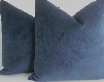 BOTH SIDES-Navy Velveteen Throws and Lumbars- -Decorative Designer Pillows - Deep NAVY Toss Pillow-,Navy Velvet Cushion Cover