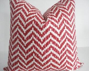 Chevron - Decorative Designer Pillow Cover-Geometric -Red- Coral  -Ivory Throw / Lumbar Pillow