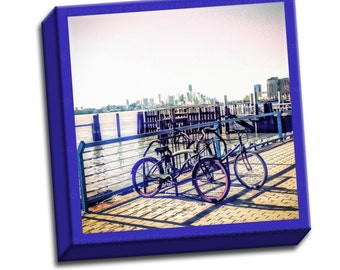 """New York City Skyline Bicycle - Blue Red Gray -  6""""x6"""" to 36""""x36"""" - 1.25"""" Deep - Gallery Wrapped Canvas - artstudio54"""