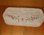small white linen embroidered doily flowers crochet edge