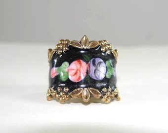 Roses Guilloche Ring Sterling Vintage Signed