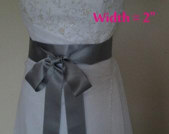 Wedding Sash Satin Sash Belt Bridal Accessory Bridesmaids Sash Silver Grey ribbon sashes - SWISS SATIN 2 inch width