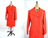 1960s coat vintage 60s mod bold red peacoat L