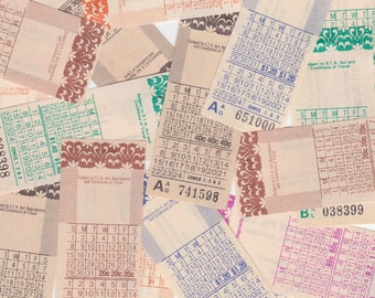 18 x Vintage Bus Tickets from Australia Pretty Lot for Altered Arts Mixed Media Collage