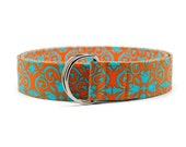 Ladies Aqua Blue and Orange Fabric Belt in Custom Sizes Small Medium or Large Preppy D Rings Women's Belt Modern and Preppy 1.5 inch Width