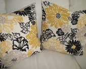 SALE Modern Floral Throw Pillow Cover 18 x 18 Set of 2