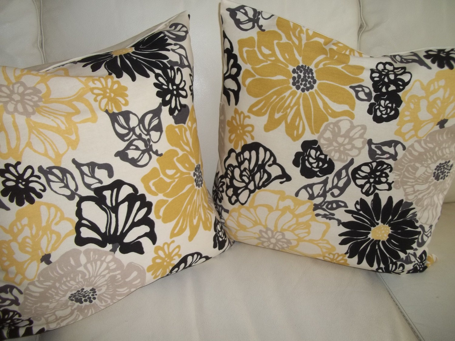 Modern Floral Pillows : SALE Modern Floral Throw Pillow Cover 18 x 18 by CottageDayDreams