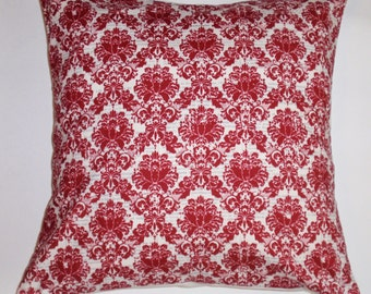 Summer SALE - Throw Pillow Cover, Elegant Damask in Red & White Accent Pillow Cover, Handmade Decorative Cushion Cover - LAST ONE