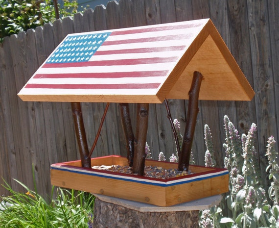 HOLD for Beth Messmer - Bird Feeder, Covered Bridge style Open Air Persnickety AMERICANA  Bird Feeder built with Reclaimed Wood And Branches
