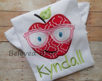 Apple with Glasses Back to School Ruffle Shirt-Back to School-First Day of School