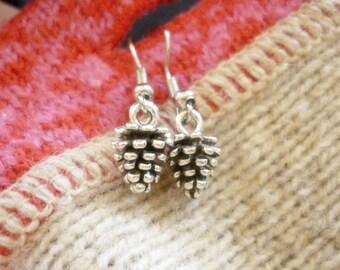 Woodland Pinecone Earrings-Silver Pinecone dainty Earrings