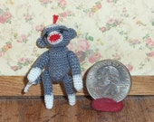 Micro Sock Monkey Grey 1 1/2 inch  Baby Sock Monkey Thread Artist Crochet Ready to Ship