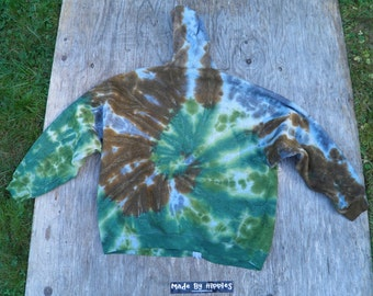 Woodsman Camo Spiral Tie Dye Hooded Zipper Sweatshirt (Fruit of the Loom Size 2XL) (One of a Kind)