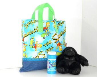Bart Simpson Child Tote /Pre School and Kindergarten Tote / Book Bag / Overnight / Organizer / Storage / Party Tote / Embroidered