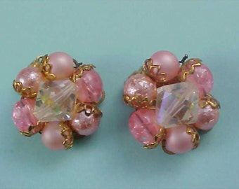 Dramatic Pink Crystals & Simulated Pink Pearl Cluster Hand Wired Earrings