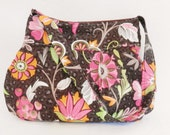 Pleated Hobo Bag in Pink, Orange, Brown, Gray, Cream and Green Florals-MEDIUM