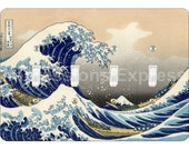 Kanagawa Great Wave Hokusai Painting Quadruple Toggle Light Switch Plate Cover