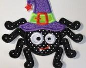 Halloween Witch Spider Iron On Applique