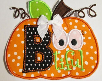 Halloween Iron On Applique - BOO-Tiful Pumpkin with Bow