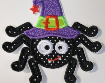 Halloween Witch Spider Iron On Applique