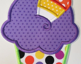 Halloween Candy Corn Cupcake - Iron On Applique