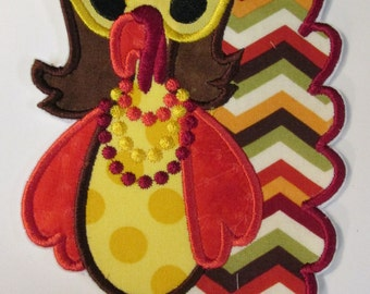 Diva Turkey Thanksgiving Iron On Applique