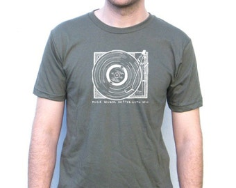 Mens American Apparel Tshirt - Record Player Vintage Design - XS, Small, Medium, Large, Extra Large, XXL