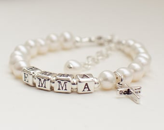 Flower girl baby toddler girl white freshwater pearl bracelet with a choice of charm