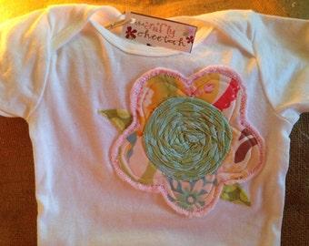 Flower appliqué one piece baby bodysuit, infant girl outfit, flower applique, girl baby shower gift