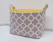 LARGE Fabric Organizer Basket Storage Container Bin - Size Large - Quatrefoil in grey