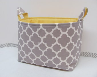 LARGE Fabric Organizer Basket Storage Container Bin - Size Large - Quatrefoil in grey
