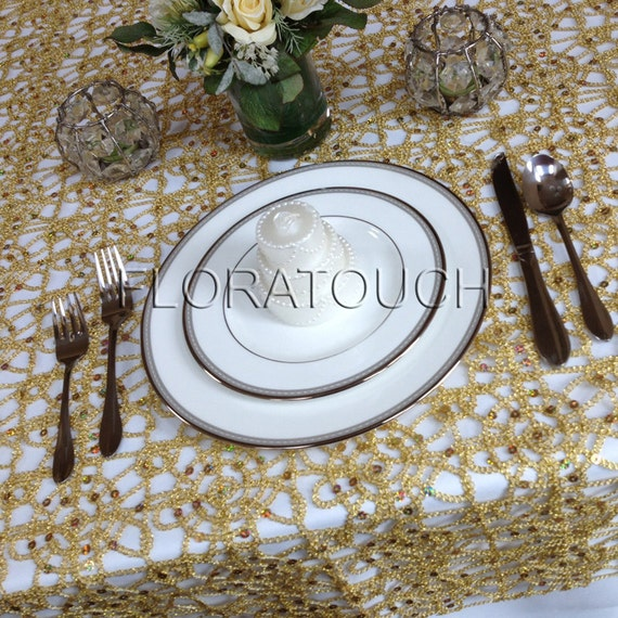 Alice Metallic Gold Lace Table Overlay