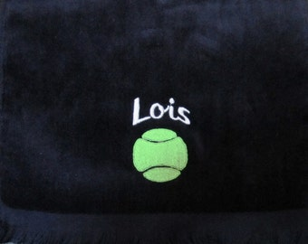 Embroidered Personalized HEMMED Tennis Sports Towel with Grommet