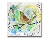 Singing Bird Nursery Decor Whimsical Watercolor Painting 12x12 Fine Art on Paper Original Mixed Media Spring Colors Contemporary Wall Art