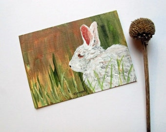 White Rabbit ACEO Painting Miniature fine art acrylic on linen paper artist trading card rustic wildlife mini art for shelf affordable gift