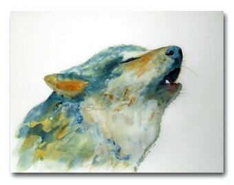 Wolf Watercolor Original Art Print 8x10 Fine Art Painting Modern Wildlife Art minimalist contemporary animal art gift for animal lover