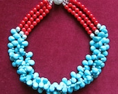 Blue and Red Statement Necklace.Turquoise Coral Chunky Bib Necklace.Multistrand Cluster Necklace.