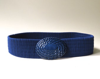vintage Dark Blue Elasticized Fabric Cinch Belt with Wound Rope Embossed Plastic Buckle