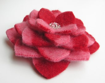 Felted Wool Flower Brooch Pin - Red Pink Stripes with Pink Rhinestone Center