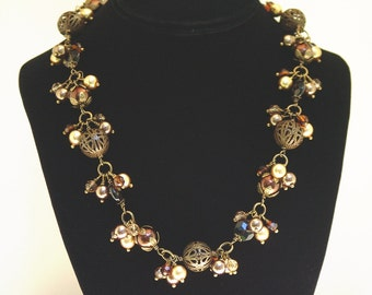 Smoky Quartz, Crystal, and Pearl Necklace and Earring Set
