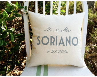Custom Personalized Family Name Canvas Pillow- Perfect for Two Year Anniversary Gift (Cotton)