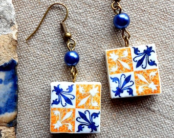 Portugal Azulejo Tile Replica Earrings from BARCELOS Fleur de lis (see actual Facade photos) WATERPROOF and REVERSIBLE