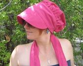 FREE SHIPPING Fuchsia Pink Wrap Bonnet Linen Sun Cap
