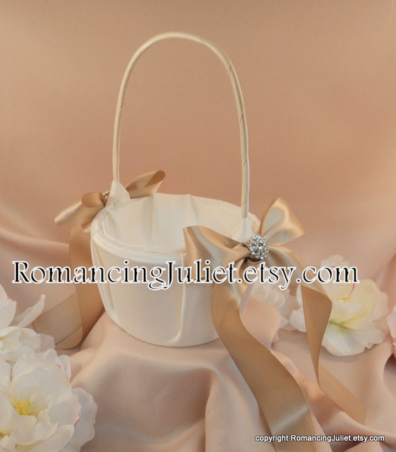 Elite Satin Flower Girl Basket with Rhinestone Accent..BOGO Half Off..You Choose The Colors..Shown in ivory/champgane