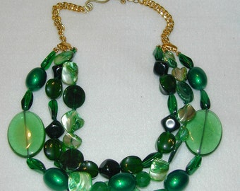 SALE ITEM!!  3 strands of eclectic media green beads