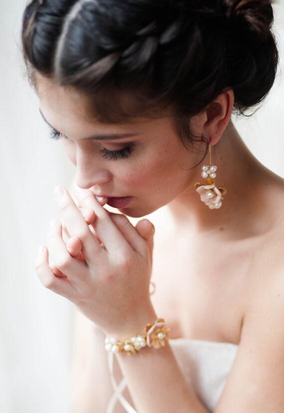 Hand beaded floral bracelet