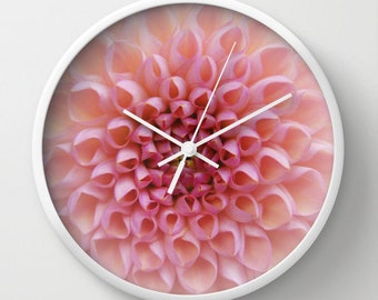 Flower clock, Pink Chrysanthemum photo wall clock, wall art home decor, feminine pastel valentines pink nursery clock